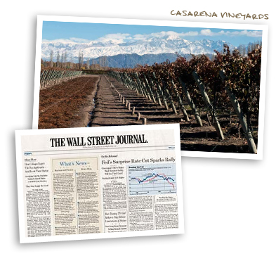 Casarena Vineyards & The Wall Stree Journal